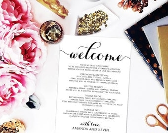 Itinerary, Wedding Welcome Bag, Wedding Itinerary, Editable Itinerary, Welcome Box, Wedding PDF, DIY, Printable Itinerary, WBWD3