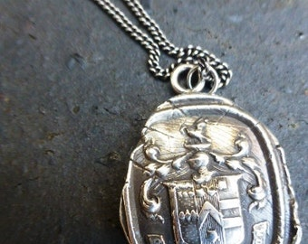 """Pyrrha-talisman-Love-Conquers-All-Necklace- Vintage Sterling-Silver Wax Seal Charm on 18"""" chain"""