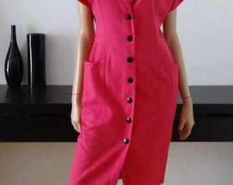 Robe vintage Jacques GEVERTZ Marie-Louise de Coninck rose tuxedo taille 40 / uk 12 / us 8