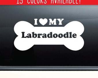 I Love My Labradoodle Vinyl Decal Laptop Car Truck Bumper Window Sticker