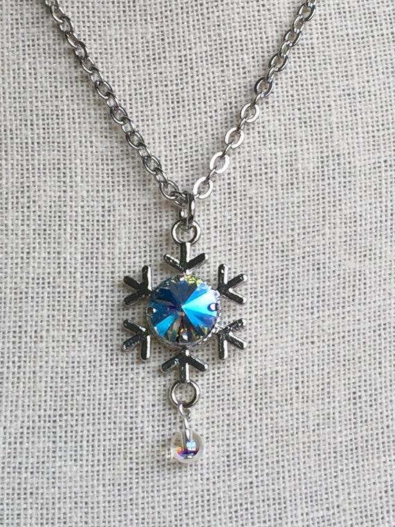 Light Sapphire Glacier Blue Crystal Snowflake Pendant Necklace, Silver