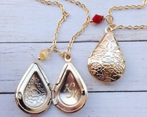 Gold Locket Initial Locket /Birthstone Childrens Lockets /Engraved Locket / Drop Pendant Necklace / Gift for Niece