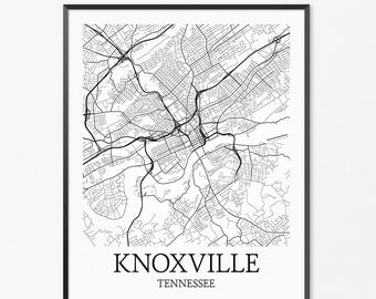 Knoxville Map Art Print Knoxville Poster Map Of Knoxville Decor Knoxville City Map Art