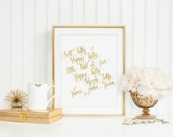 Soft Kitty Warm Kitty Wall Art Instant Download Gold Foil Print Nursery Quote Printable Digital - Soft Kitty Warm Kitty Little Ball of Fur