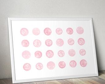 Instant digital download Pink watercolour spots printable art, print, poster, wall art, nursery art