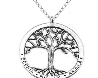Silver Tree of Life Personalised Family Names Necklace - Made to Order - Hand Stamped