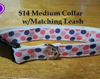 "1"" Medium Pink & Purple Polka Dot Collar with Matching Leash"