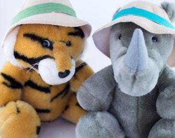 Dakin 1987 Fun Farm Safari Rhino and Tiger stuffed animal plush with safari hats 8 inches tall