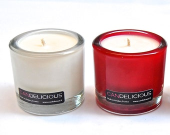 Soy wax candles in beautiful thick glass pots