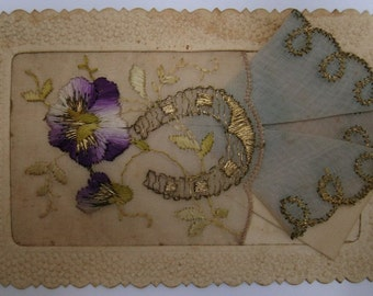Vintage French Postcard. France. Vintage handerchief. Ephemera. Hand embroidery. Rare. Mother gift Violet. Gold. French silk.Carte Postale.