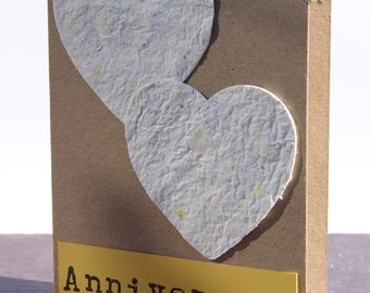 First anniversary seeded paper heart plantable unique card