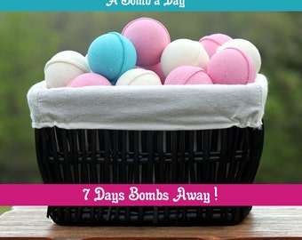 Bath Bomb Set | 7 Days Bombs Away | Bath Bomb Gift Set | Bath Bombs for A Week | Mystery Bath Bomb Set