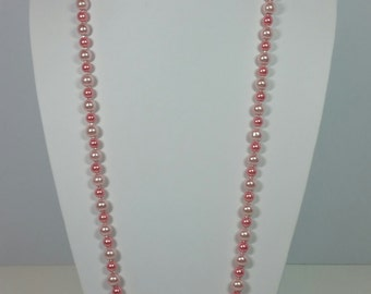 36 Inch Pink Two-Tone Pearl Necklace and Earring Set Special Occasion Ready To Ship