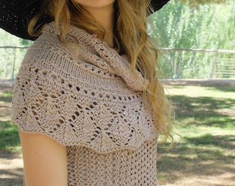 Rose Beige Openwork Bamboo Cowl, Wrap, Shoulder Cowl, Nursing Wrap