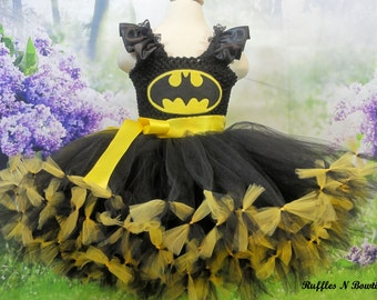 Superhero Batman-Princess tutu inspired Costume-- Embroidery  Mask---Great for Birthdays, Photos,  Pageants , Weddings