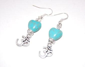 Om Turquoise Earrings, Beaded Earrings,Drop Earrings ,Dangle Earings ,Boho Jewelry ,Woman,Girl,Chic,Gift For Her