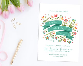 Printable Easter Invitation,  Easter Brunch Invites, Easter Dinner Invitation, Easter Egg Hunt Invitation, Easter Invite, Happy Easter