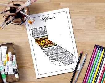 Adult Coloring Maps Texas Map States Maps Coloring Pages Us - Us state map diy photos