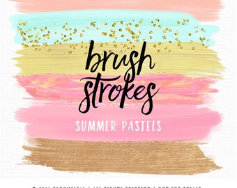 Pastel Brush Strokes Clip Art | Hand Painted Summer Sherbet Gold Glitter Acrylic Paint Graphic Elements | Digital Design Resource