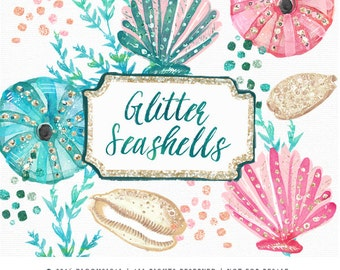 Glitter Seashells Clip Art | Glam sea shells coral marine plants Graphics | Scrapbooking, Cards, Planner Stickers  | Digital Cliparts