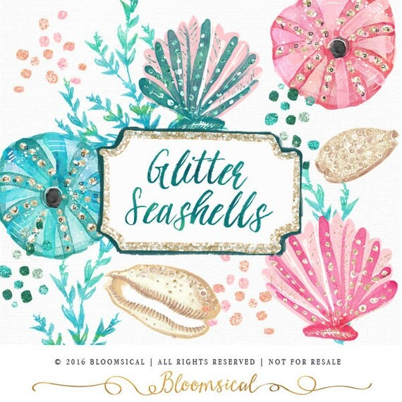 Glitter Seashells Clip Art Glam sea shells coral marine