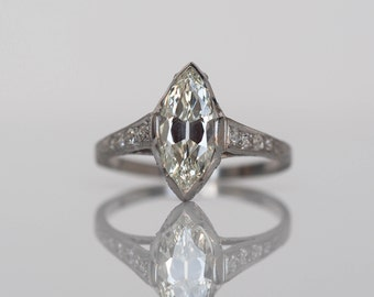Circa 1910 - Platinum GIA Certified 1.55ct Antique Marquise Cut Diamond Engagement Ring - VEG#516