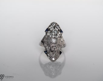 Circa 1920 - Art Deco 18K White Gold Antique Engagement Shield Ring with Sapphires and Old European Cut Diamonds  - VEG#338