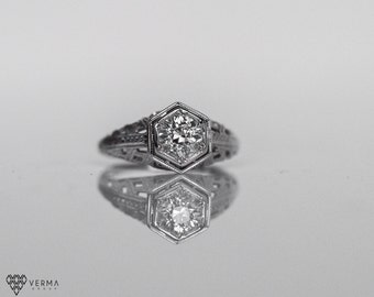 Circa 1910 - .65ct Old European Cut Diamond Engagement Ring in 18K White Gold with Intricate Filigree and Metal Design - VEG#328
