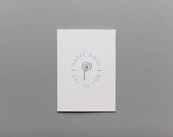 Happy Birthday To You Botanical Letterpress Card