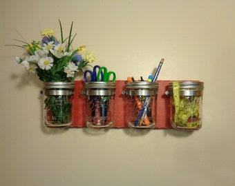 CHOOSE FROM 9 COLORS - Mason Jar Caddy - Mason Jar Organizer - Mason Jar Wall Decor - 4 Pint Jars - Distressed Red Finish