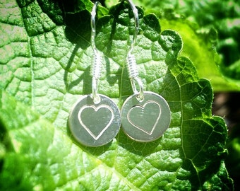 Pretty Little Sterling Silver and Silver Plated Love Heart Earrings
