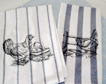 Kitchen Dish Towels/French Country Grain Collection/Embroidered French Chickens(Set of 2)/100% Natural Cotton/Stripe Blue/Paris Towel