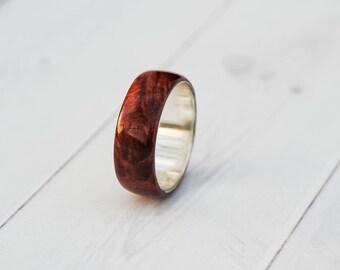 Wood Ring - Fire Ring - Wood Wedding Band - Mens Wooden Ring - Womens Wood Ring - Wood Engagement Ring - Silver Wedding Band - Engraved Ring