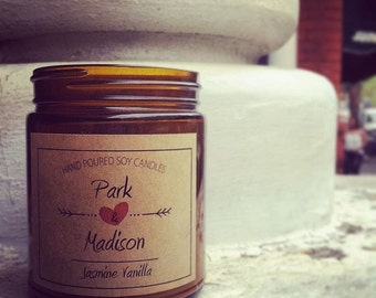 Park and Madison-Soy Candle, Jasmine Vanilla Scented Soy Candle, Soy Candles Handmade