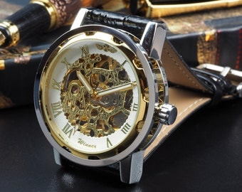 Custom Glass Engraved Silver Gold Skeleton Wrist Watch Black Strap - Metal Gift Boxed / WW-5-G