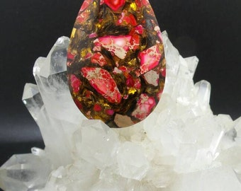 Red Sea Sediment Jasper with Pyrite Teardrop Pendant.