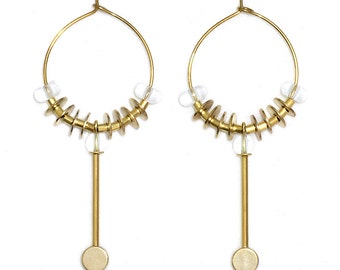 Brass hoop earrings with Rhinestone - gemstone hoop earrings - ECHO