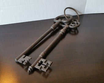 Vintage Set of 2 VERY Large French Iron Skeleton Keys on Ring, 1800's Reproduction, Home Decor, Wall Hanging