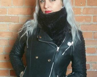 Faux fur, faux mink scarf. Rockabilly black mink scarf. Faux fur scarf faux fur shawl faux fur wrap