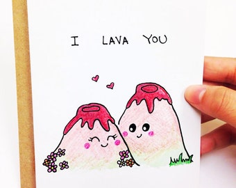 Anniversary card, love card, funny card for boyfriend, i love you card, boyfriend card, funny love card, i lava you card, hand drawn card