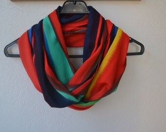 Cotton Colorful Striped Infinity Scarf Available in 2 Sizes, Cotton Soft Scarf, Summer Fashion, Women Accessories, Spring, Summer, Fall