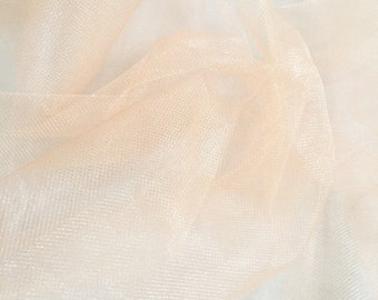 "Peach Tulle fabric, net for crafting, net dress, wedding, doll dress, skirt, decoration etc. 60"" wide by the yard"