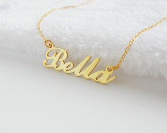 Personalized Any Name Necklace,Name Necklace Gold,Children Script Name necklace,Tiny Name Jewelry,Bella Name Necklace,Christmas Gift
