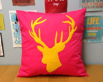 Bright Pink & YellowUnique Cushion Pillow Cover Felt Applique Stag Deer Head Modern Animal Pop Art 14 16 18 20 22 24 Size Large