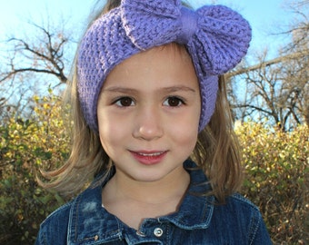 Bow Headwrap, Bow Earwarmer, Bow Headband, Crocheted Earwarmer