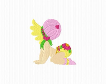 Embroidery pattern of a baby floral machine embroidery 4 x 4 format