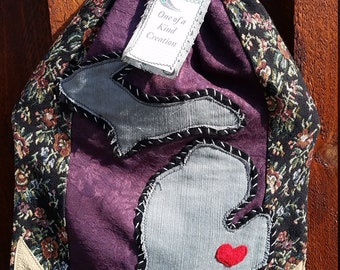Bohemian Chic Drawstring Upcycled Purple/Flower Print Michigan One of a Kind Backpack m16