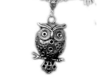 Night Owl Necklace, owl pendant, owl gift