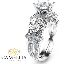 14K White Gold Moissanite Engagement Ring Unique Moissanite Engagement Ring Floral Engagement Ring