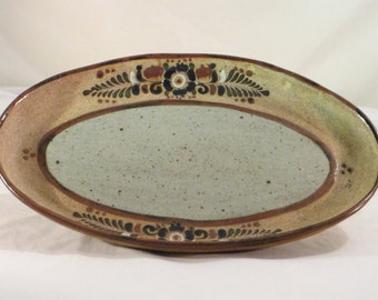 Vintage One-of-a-Kind Mexican Tonala Hand Made Platter Tray from Mexico